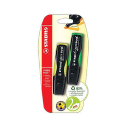 Stabilo GREEN BOSS Refillable Highlighters 2 Pack in Yellow and Green