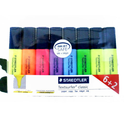 Staedtler Textsurfer Classic Highlighter Pen in 6 Assorted Colours with 2 Free Yellow Highlighters