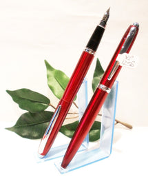X-Pen Classic Fountain Pen, Ballpoint or Both in Claret with Chrome Detail 125