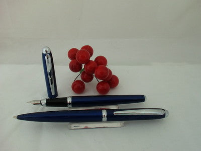 X-Pen Classic Fountain Pen and Ballpoint Pen Set in Blue with Chrome Detail 128