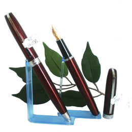 X-Pen Legend Fountain Pen and Ballpoint Pen Set in Burgundy with Chrome Detail
