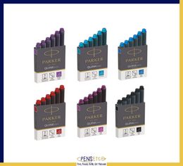 Parker Quink Mini Ink Cartridges x 12 available in 6 Colours