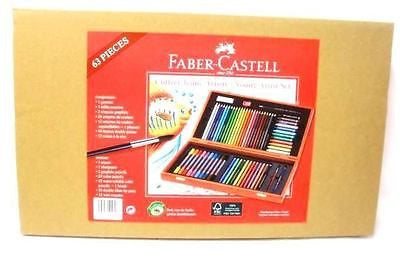 Faber-Castell Wooden Colouring Box Felt Tips Crayons Aquarelle Pencils 63 items