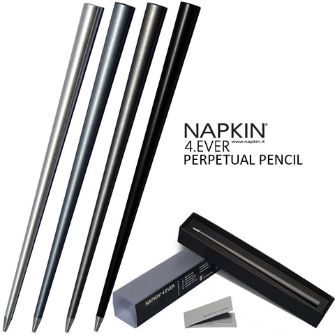 Napkin 4.Ever Never Ending Perpetual Pencil in Titanium, Aluminium, Black & Blue + Gift Box