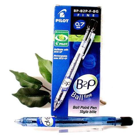 Pilot B2P Ballpoint Pen 0.7mm Fine Tip in Black, Blue or Red 3 or 10 Pack 94% Recycled