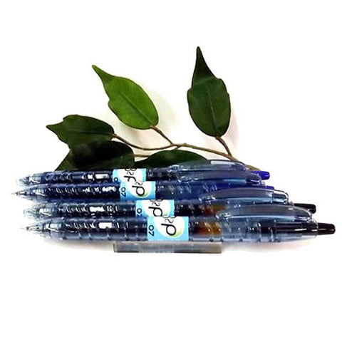 Pilot B2P Gel Retractable Rollerball Black or Blue Pen x2 0.7mm Tip 89% Recycled