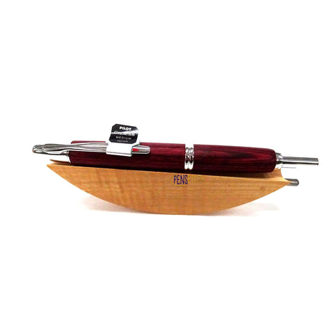 Pilot Capless Vanishing Point Fountain Pen with Red Birchwood Body and Chrome Trims