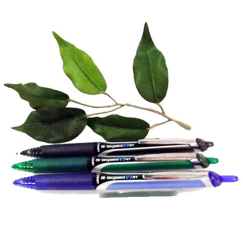 Pilot Hi-Tecpoint V7 Retractable Needlepoint Pen Fine Tip in Black Blue & Green