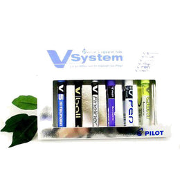 "Pilot ""V"" System Liquid Ink Box Set x 6 Assorted pens & highlighters V5 and V7"