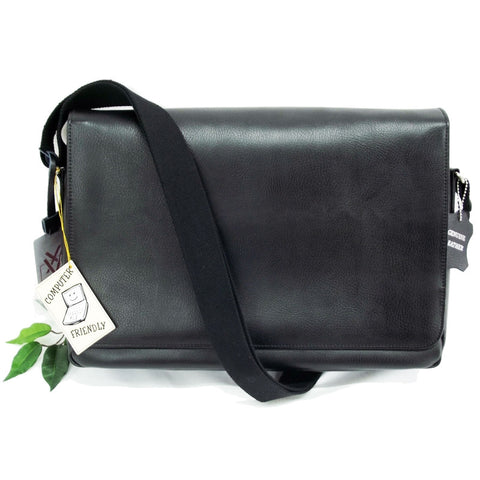 Quindici 15.6 Laptop Messenger Bag Black Soft Split Leather QSB 725