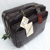 Quindici Leather Business Overnight Trolley Bag Hand Luggage Size with Laptop Section in Black or Brown QSB 718