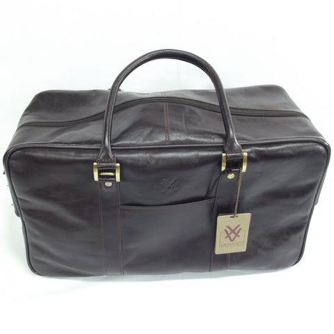 Quindici Square Leather Holdall in Dark Brown Vegetable Tan for Men & Women QVB 518