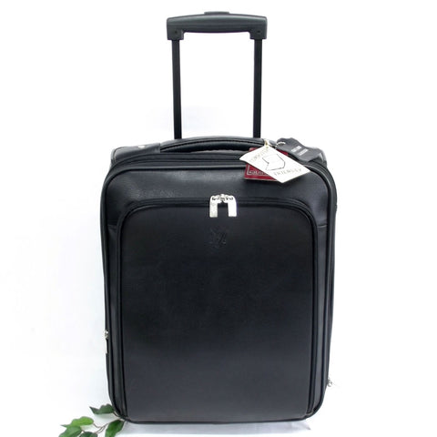 Quindici Travel Suitcase Black Leather Hand Luggage Size I.A.T.A. Soft Split Leather For Men & Women QSB 721
