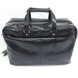 Quindici Travel Suitcase Black Leather Hand Luggage Size I.A.T.A. Vegetable Tan For Men & Women QVB 517