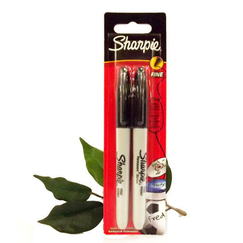 Sharpie Fine Marker Pen x2 Black Fine Tip 1.00mm Permanent Ink Blister Packed