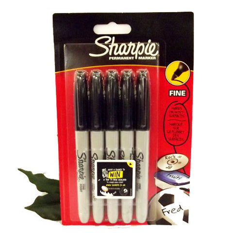 Sharpie Fine Marker Pen x5 Black Fine Tip 1.00mm Permanent Ink Blister Packed