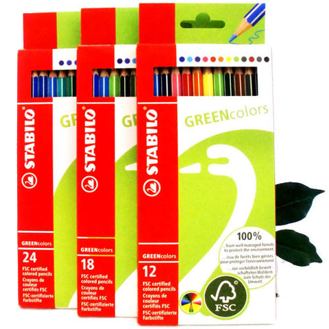 Stabilo Coloring Pencils 100% FSC Wood GREENcolors 3 Pack sizes 12, 18 or 24