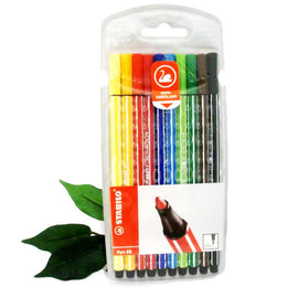 Stabilo Point 68 Felt Pens x10 Assorted Colours in Packet 6810/PL
