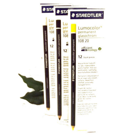 Staedtler 108 Glasochrom Permanent Dry Marker Pencils Chinagraph in 5 Colours