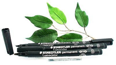 Staedtler Lumocolor 314 OHP Pen Broad Black x3 Pens Permanent Pen 1.6mm-2.5mm