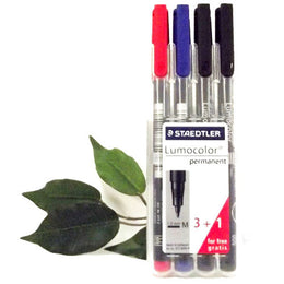 Staedtler Lumocolor Desktop Pen Set x4 317WP4 Medium Red*Blue*Black Permanent