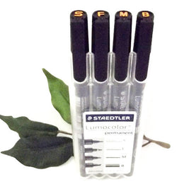 Staedtler Lumocolor Pen Set x4 Line Widths S*F*M*B Black Permanent Hard Case