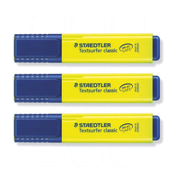 Staedtler Textsurfer Classic Yellow Highlighter 3 Pack with 1-5mm Tip and Fast Drying Ink