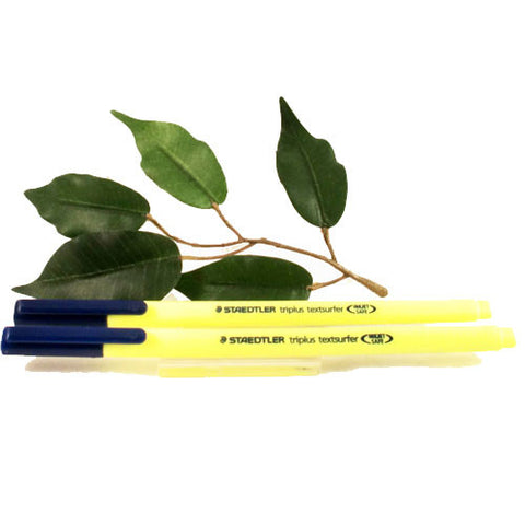 Staedtler Triplus Textsurfer Highlighter Yellow Pen x2 Tip fine-broad 363