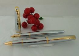 X-Pen Aura Fountain & Roller Ball Pen Steel & Gold 382