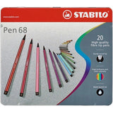 Stabilo Pen 68 Fibre Tip Pens Gift Tins in 10, 20, 30, 40 or 50 Assorted Colours