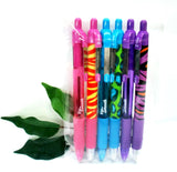 Zebra Z-Grip Funky Brights Zebra, Cheetah Tiger + Plain Barrel x6 Pens