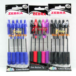 Zebra Z-Grip Retractable Ballpoint Pen 5 Pack in 3 Colour Options