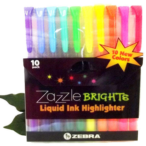 Zebra Zazzle Highlighter Pen Wallet 10 Assorted Colours