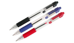 Zebra Z-Grip Ballpoint Pen x3 Assorted Black Blue & Red Retractable 1.0mm Medium