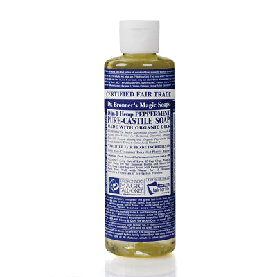 Dr Bronner 18-in-1 Organic Peppermint Castile Liquid Soap - 237ml