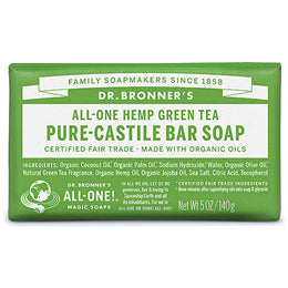Dr Bronner Green Tea Castile Soap Bar - 140g