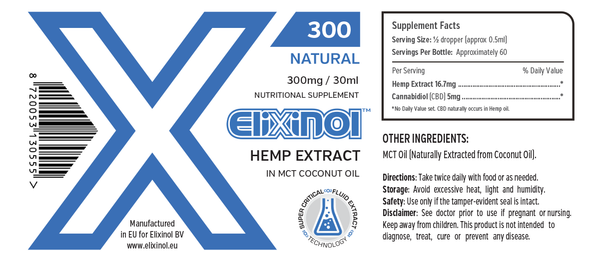 Elixinol 300mg CBD Tincture - 30ml - Natural Flavour