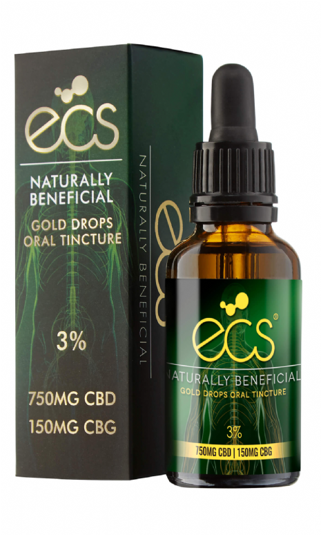 ECS Gold Drops CBD/CBG Oral Tincture - 750mg - 30ml