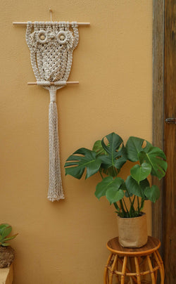 The Owl - Orson - wall hanging DIY macrame kit by Knot Modern