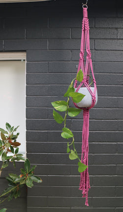 Coloured macrame pot hanger by Knot Modern Macrame