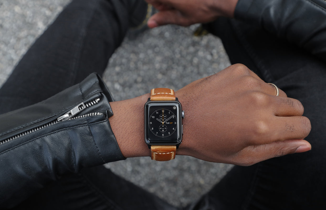 Strapa tanned leather band for Apple Watch on wrist