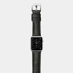 Black alligator leather band for silver aluminium Apple Watch Crocodilus