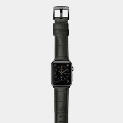 Black alligator leather band for space black stainless steel Apple Watch Crocodilus