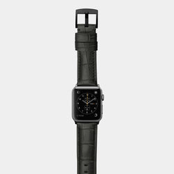 Black alligator leather band for space grey aluminium Apple Watch Crocodilus