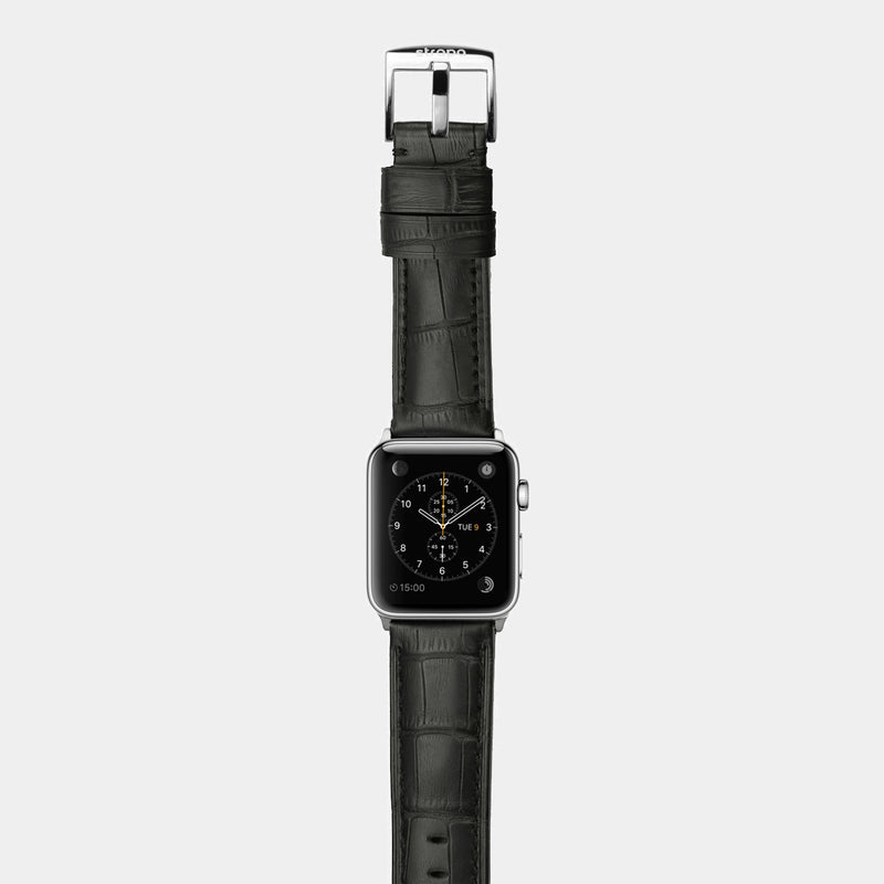 Black alligator leather band for stainless steel Apple Watch Crocodilus