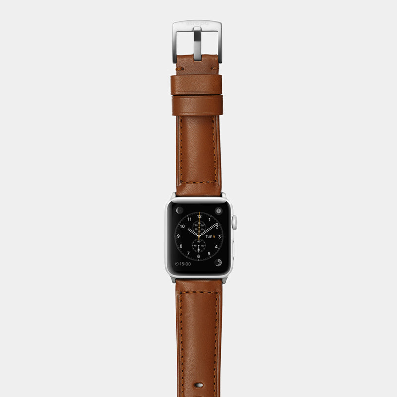 Brown leather band for silver aluminium Apple Watch Ingenium Coffee