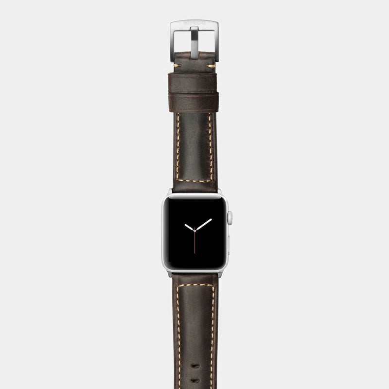 Brown leather band for silver aluminium Apple Watch Robus Wood
