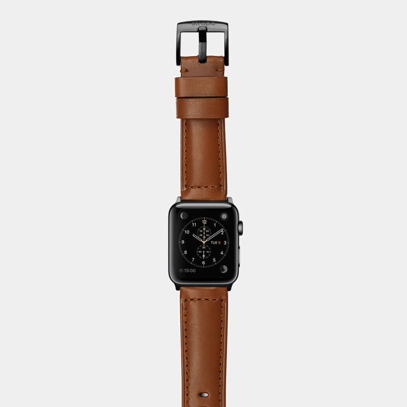 Brown leather band for space black stainless steel Apple Watch Ingenium Coffee