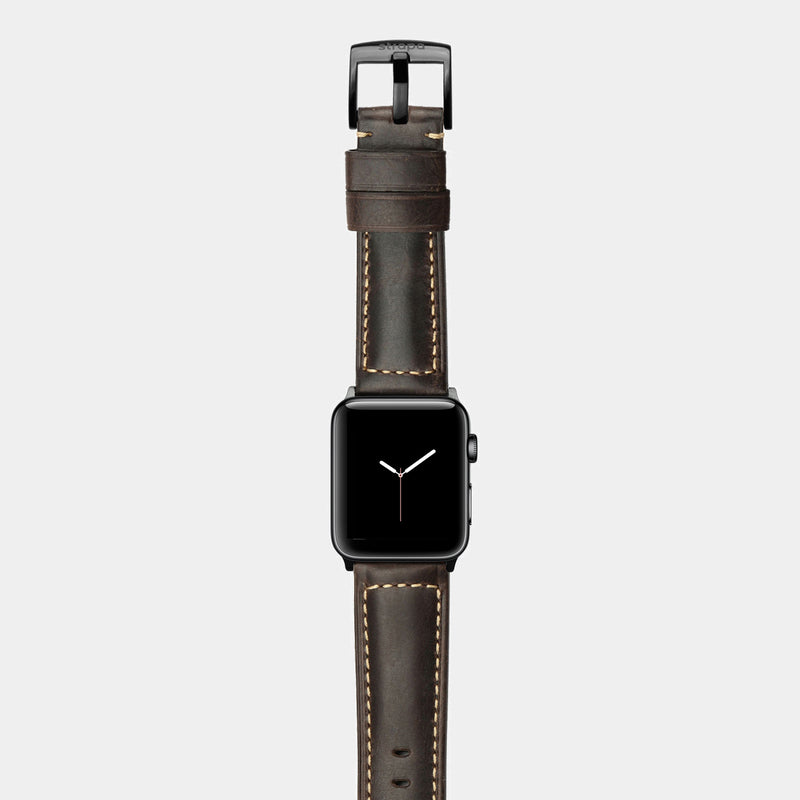 Brown leather band for space black stainless steel Apple Watch Robus Wood