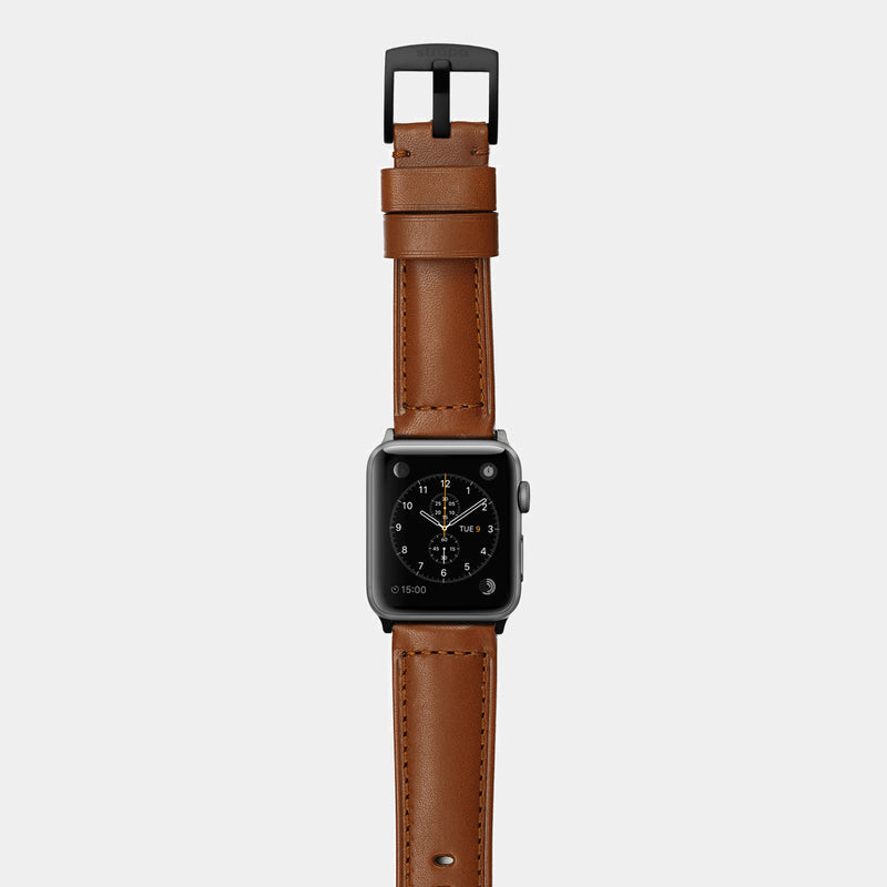 Brown leather band for space grey aluminium Apple Watch Ingenium Coffee